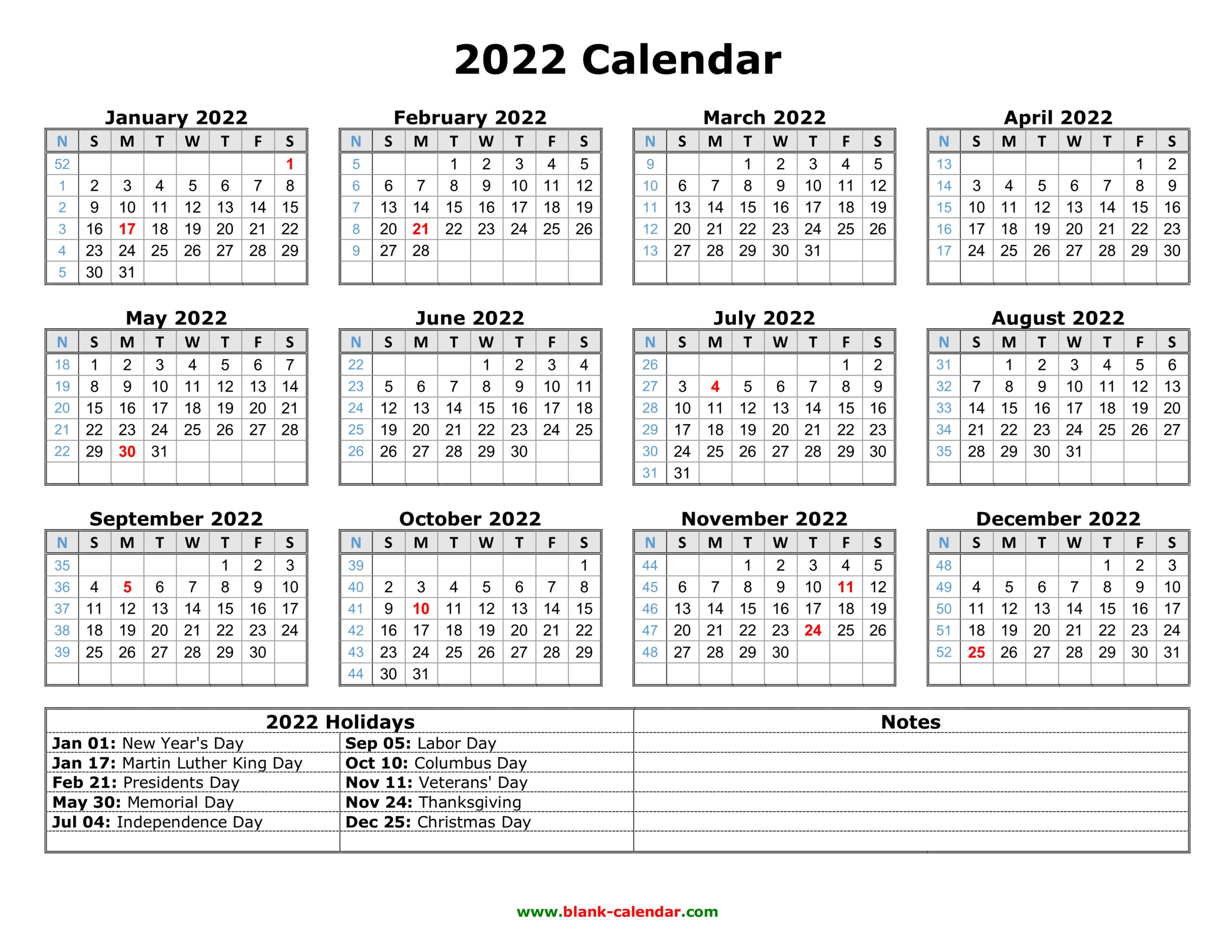 Free Download Printable Calendar 2022 With Us Federal