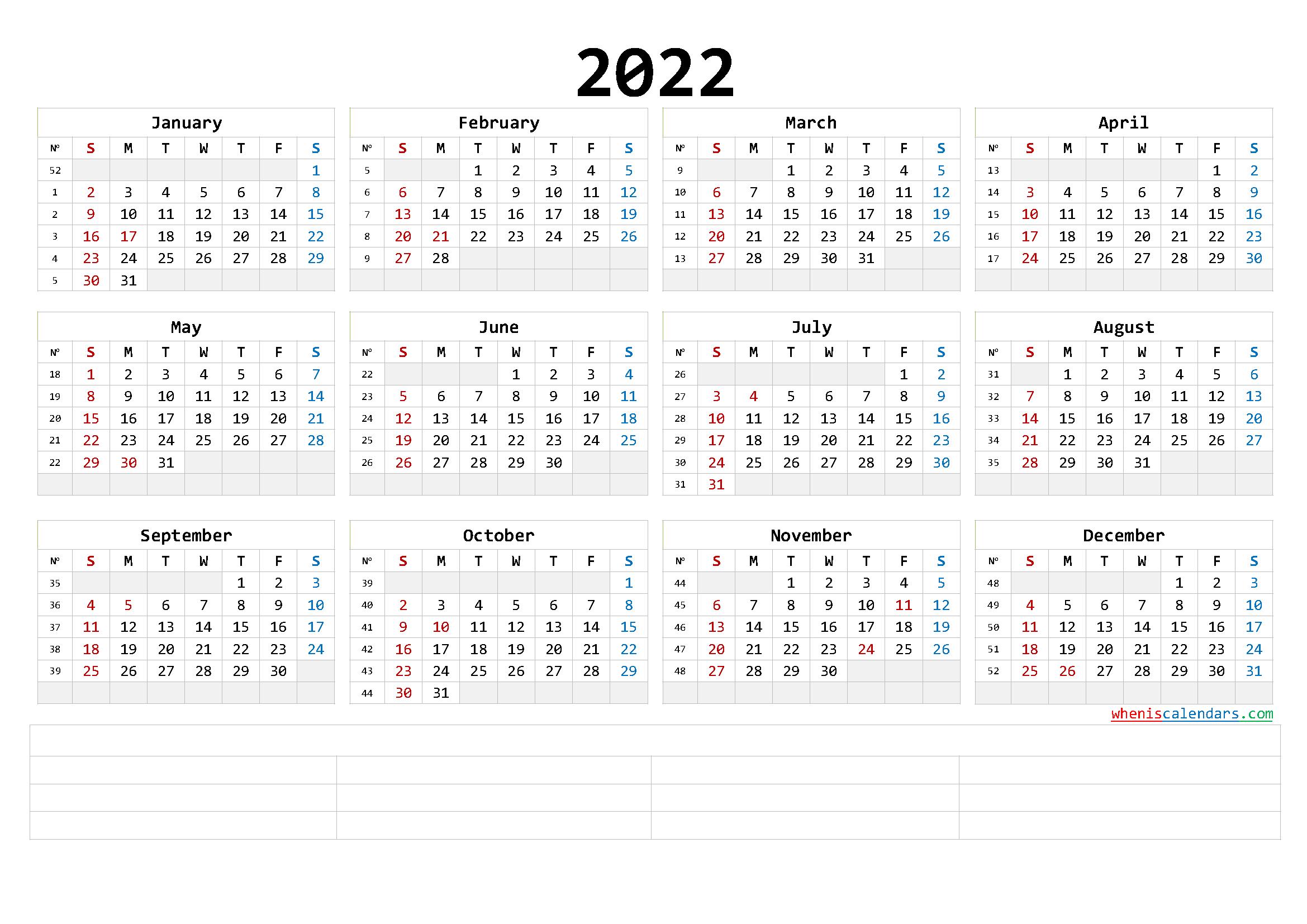 Free Printable 2022 Calendar Templates (6 Templates