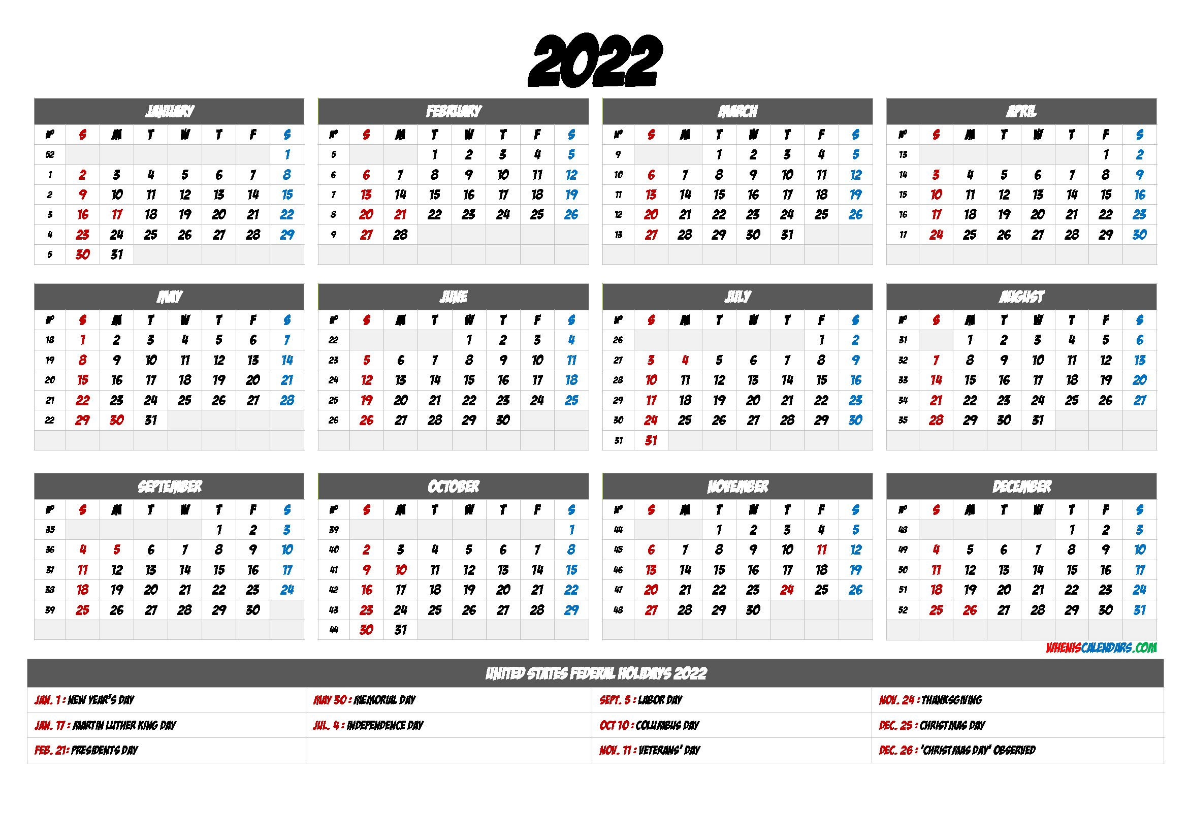 Free Printable 2022 Calendar With Holidays - 9 Templates