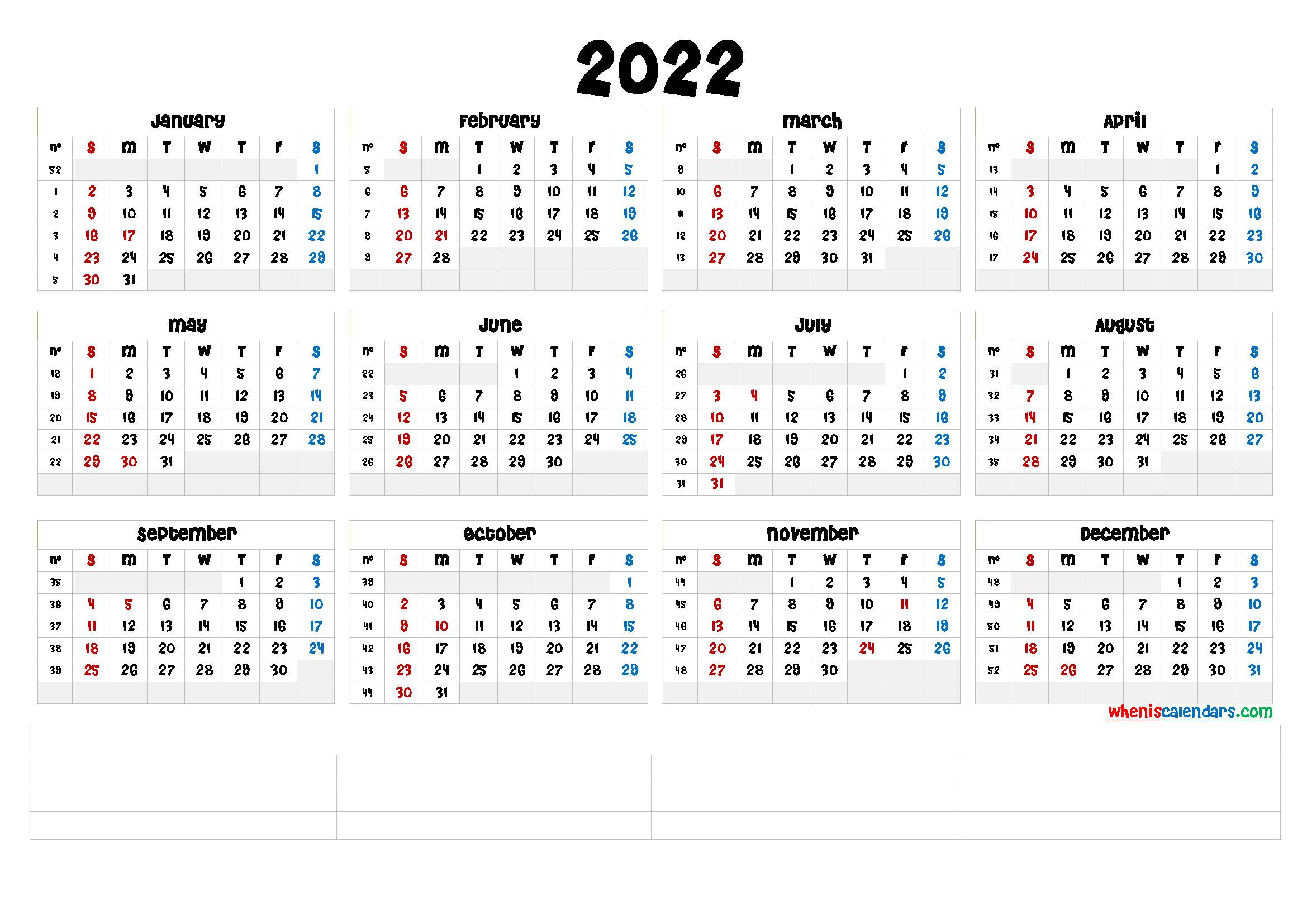 Free Printable 2022 Calendarmonth (6 Templates) - Free