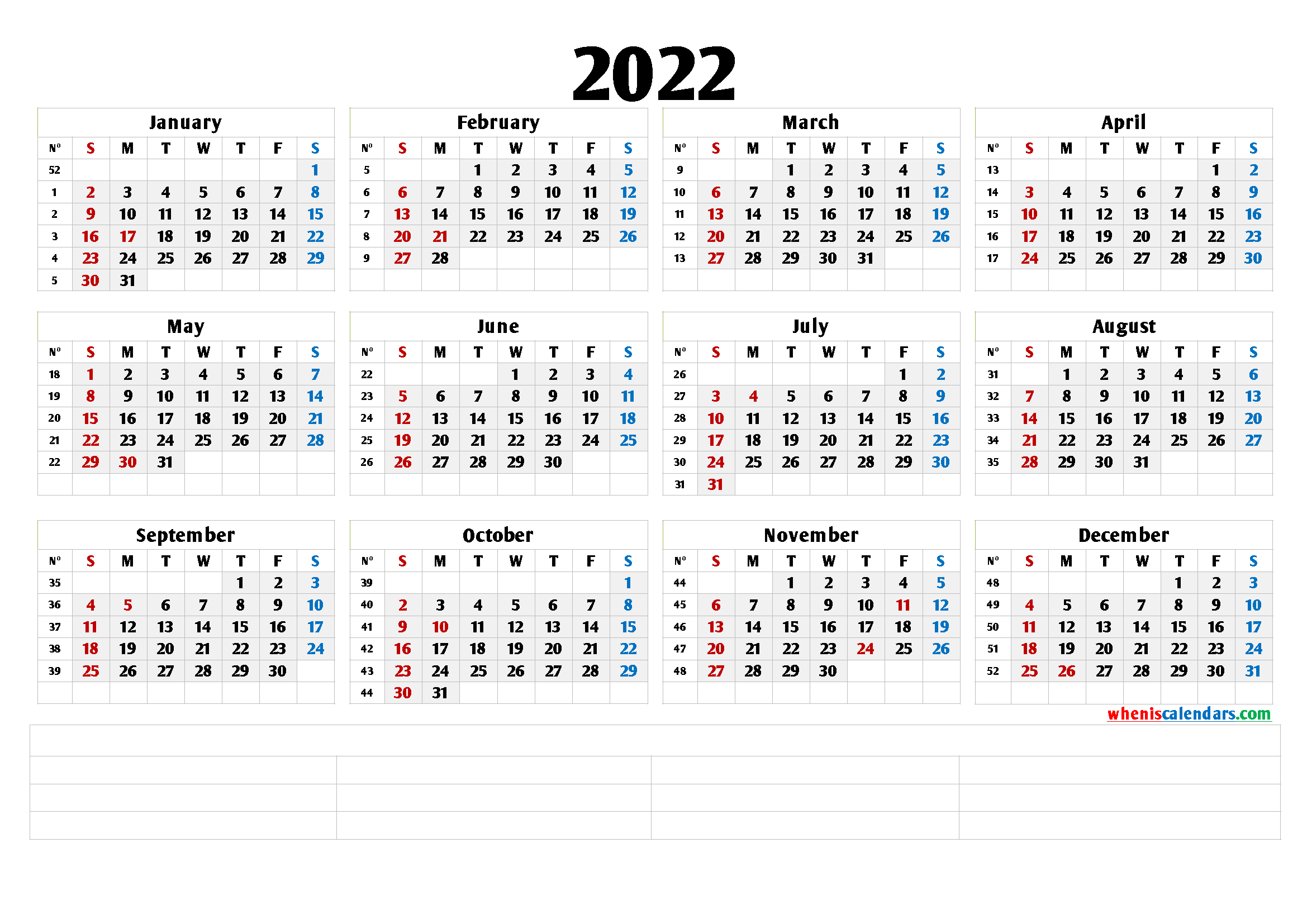 Free Printable 2022 Yearly Calendar (6 Templates)