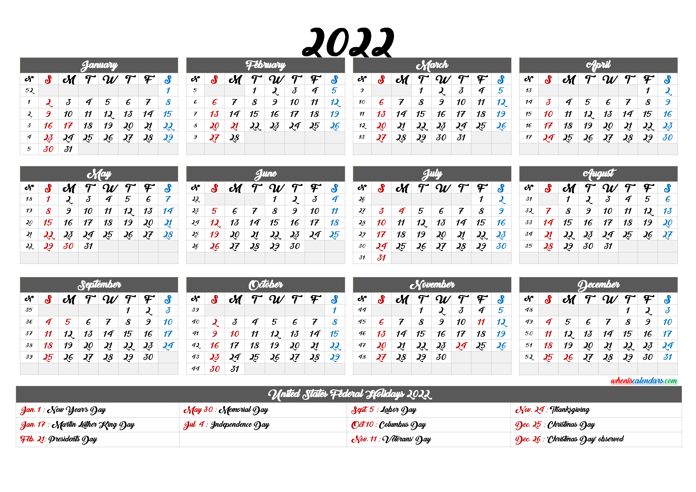 Free Printable 2022 Yearly Calendar With Holidays - 9