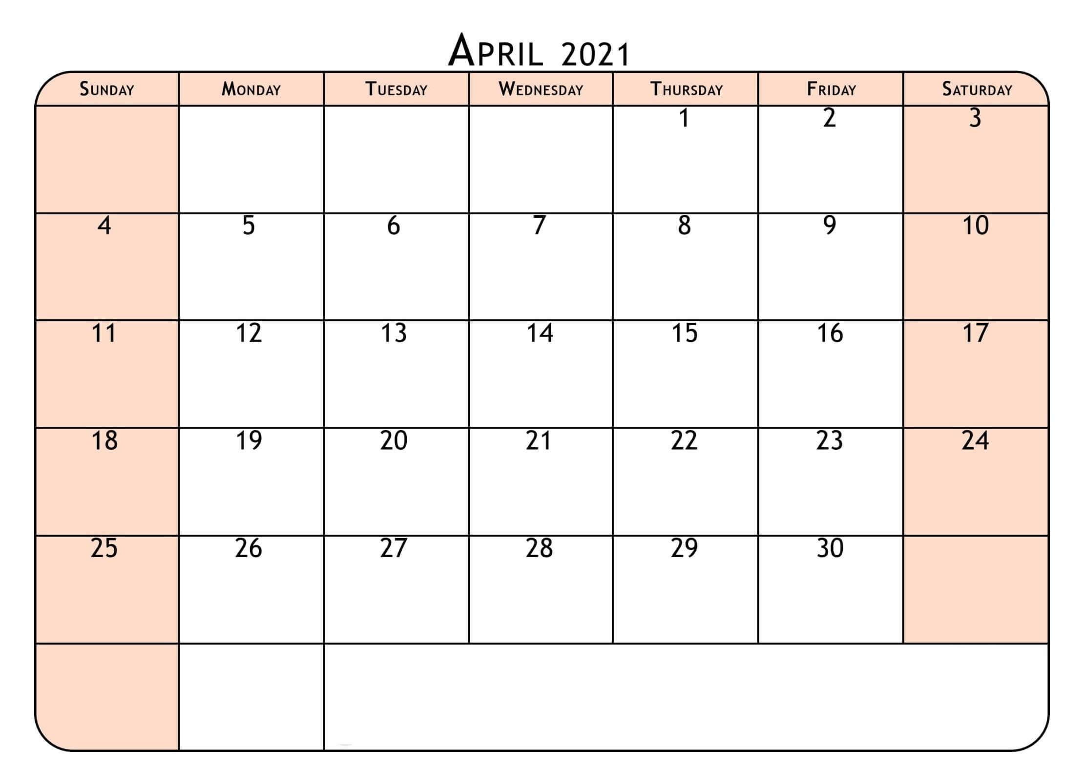 Free Printable April 2021 Calendar Notes Templates - One
