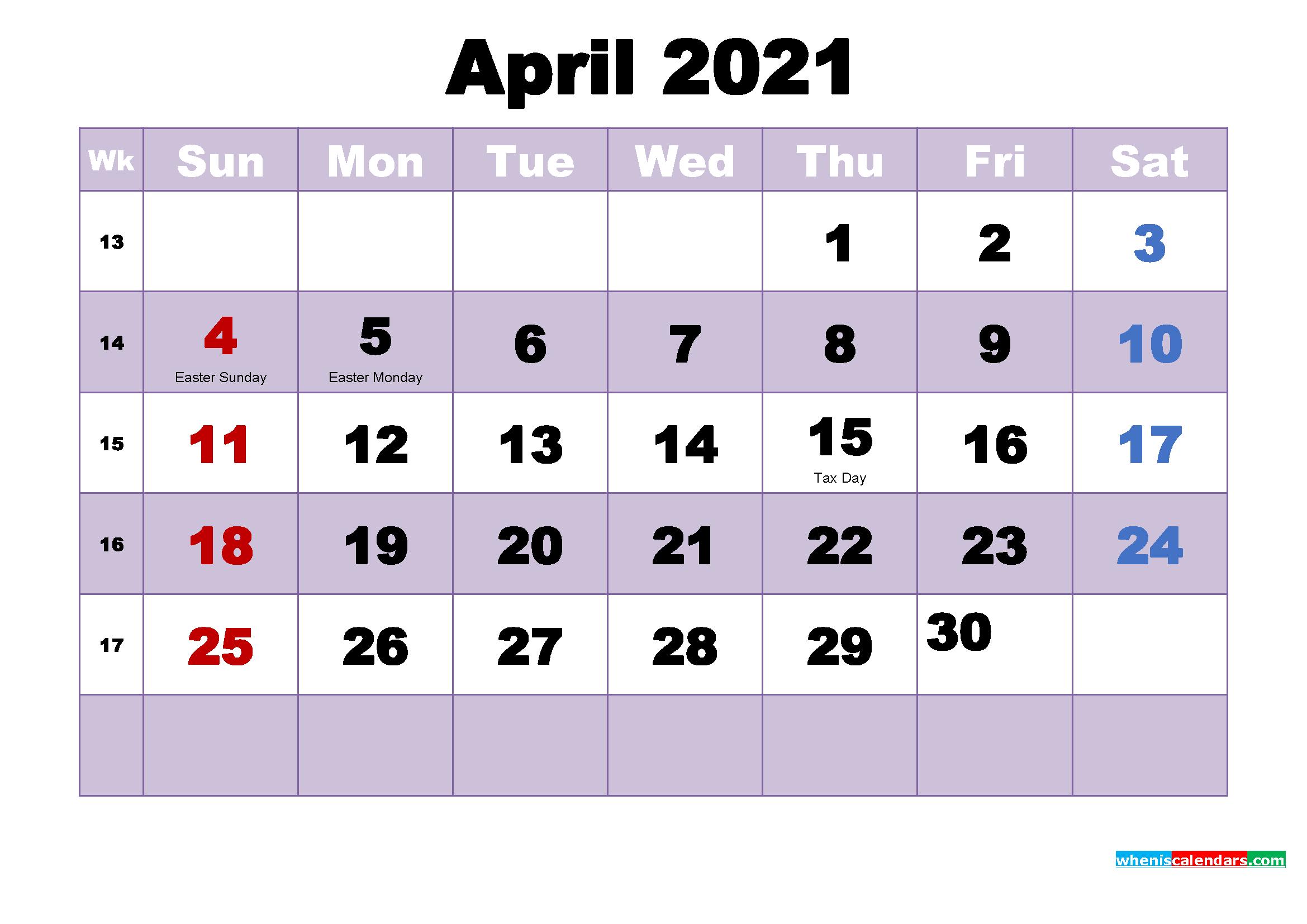 Free Printable April 2021 Calendar Word - Free Printable
