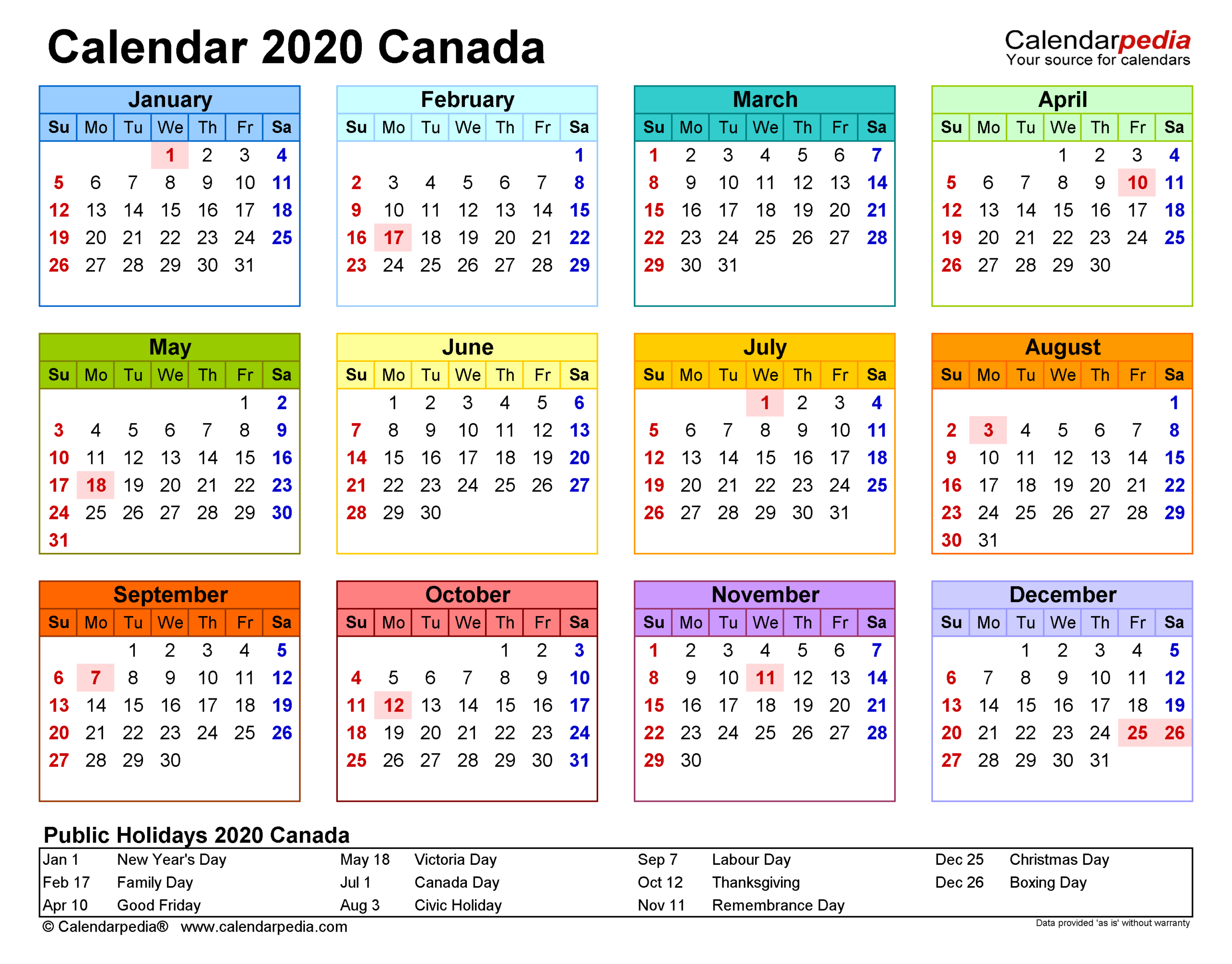 Free Printable Calendar 2022 Canada