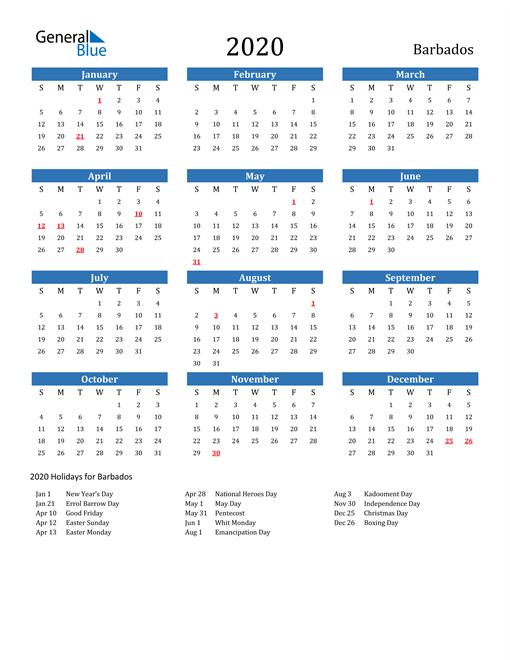 Free Printable Calendar In Pdf, Word And Excel - Barbados