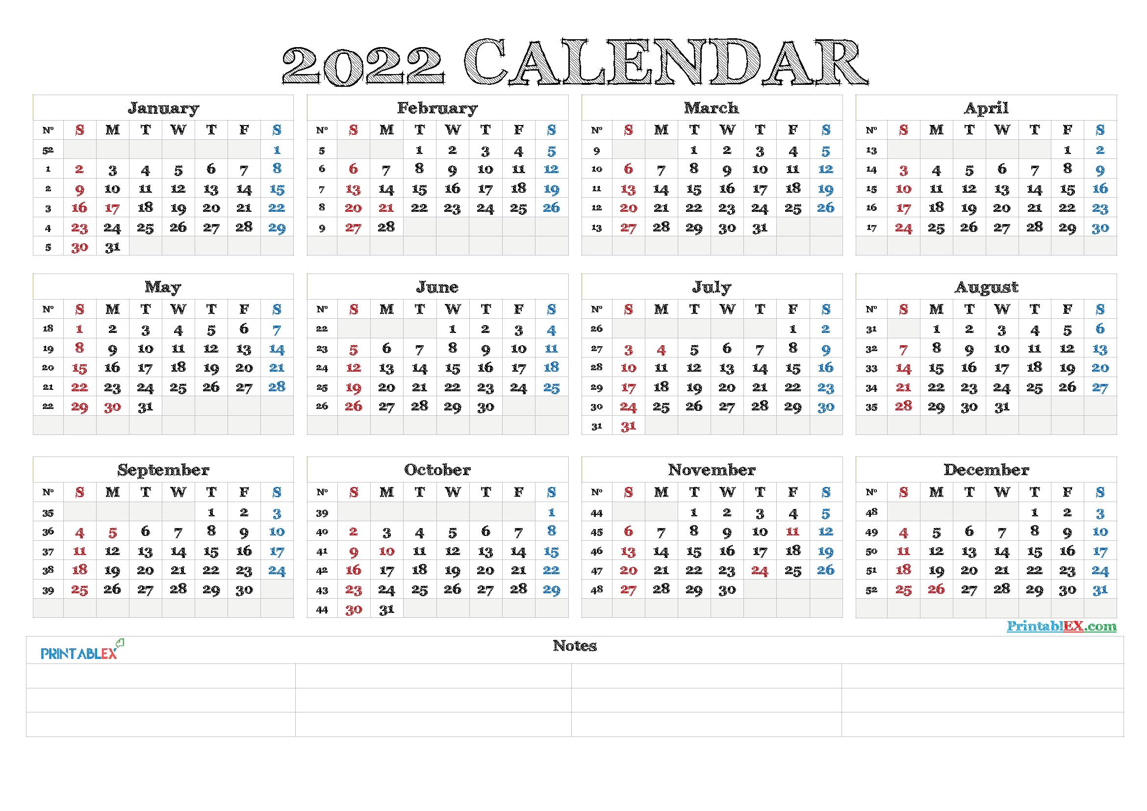 Free Printable Calendar Templates 2022 - 22Ytw83