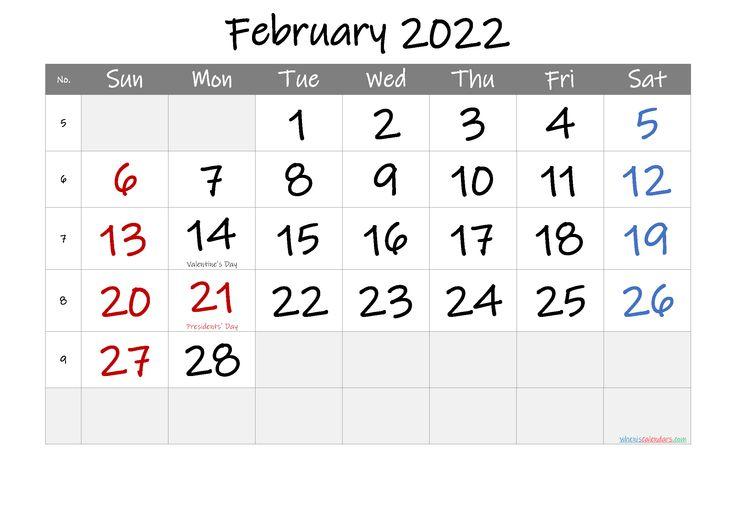 Free Printable February 2022 Calendar (Pdf And Png)
