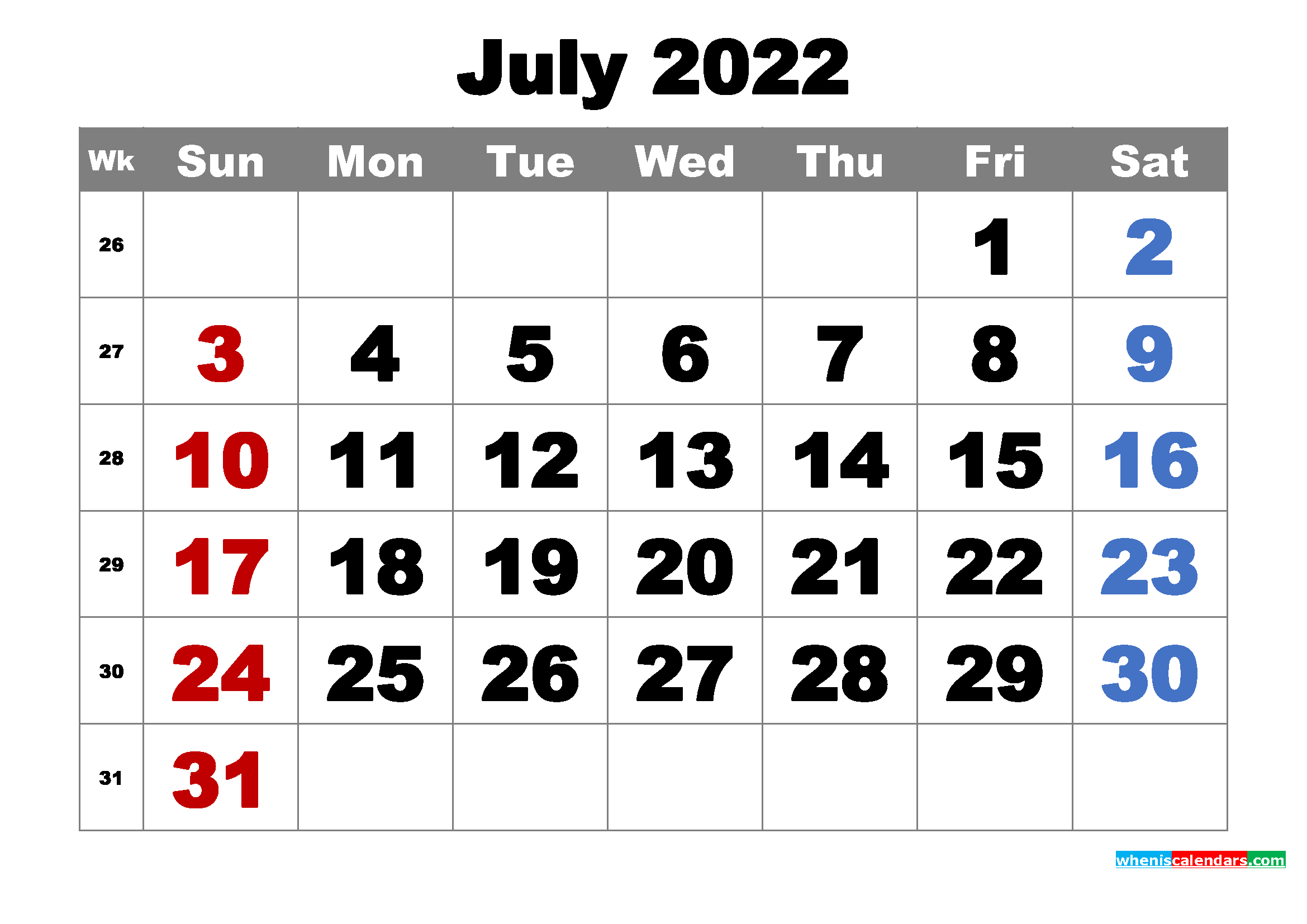 Free Printable July 2022 Calendar Word, Pdf, Image