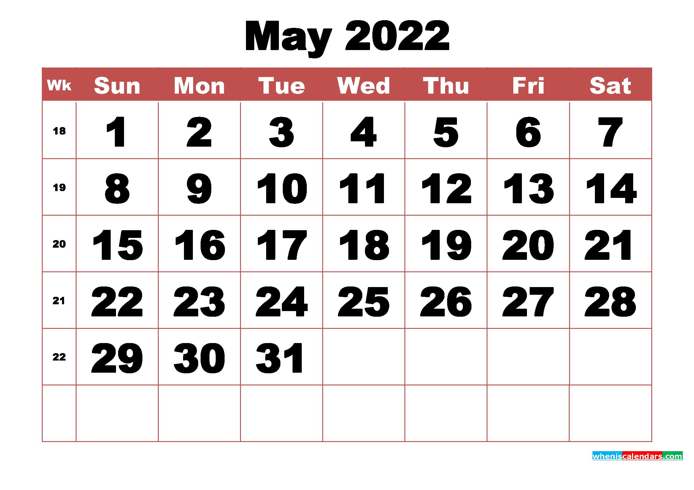 Free Printable May 2022 Calendar With Week Numbers - Free