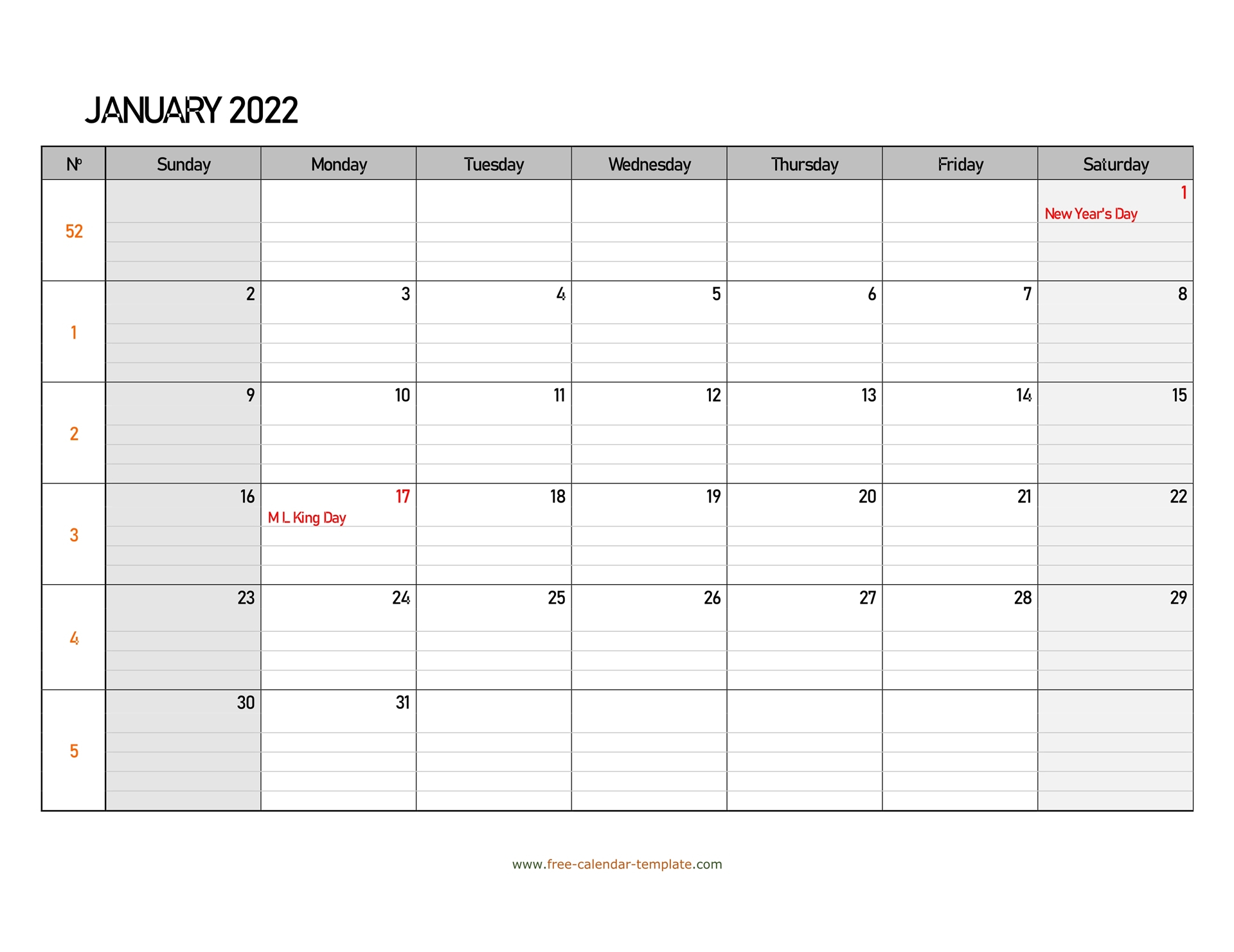 January 2022 Calendar Free Printable With Grid Lines
