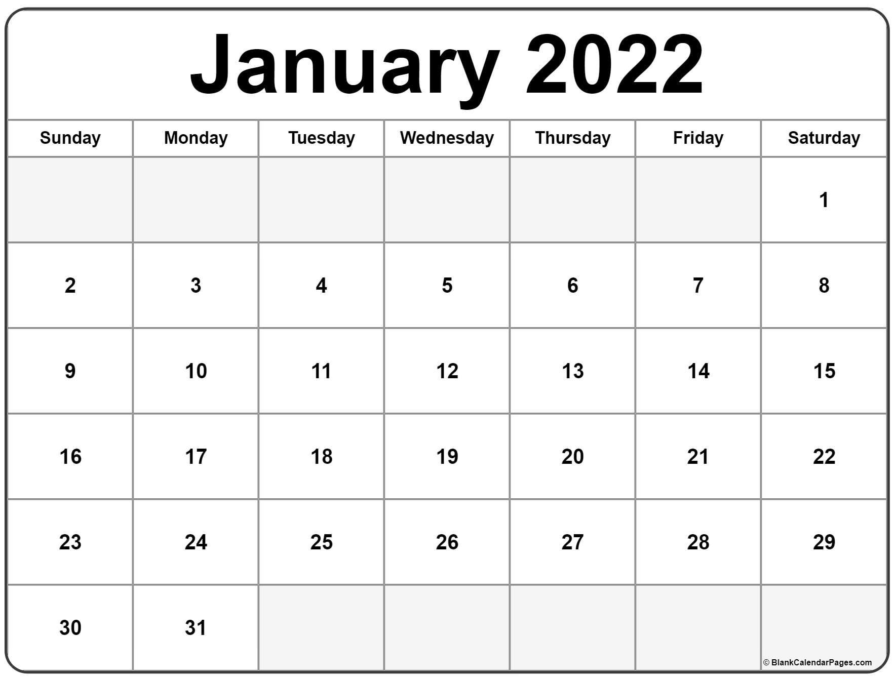 January 2022 Calendar Printable