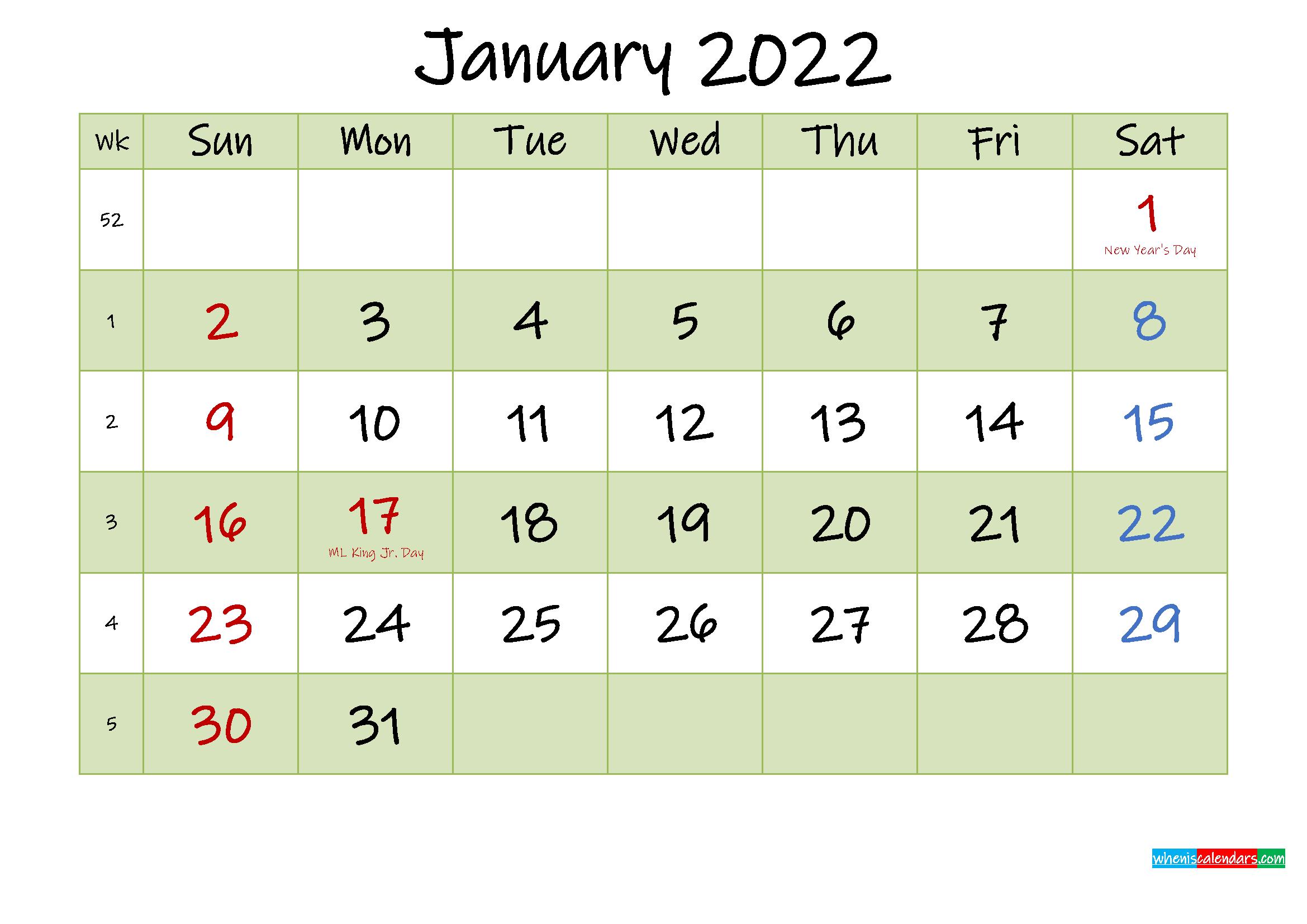 January 2022 Calendar With Holidays Printable - Template No.ink22M445 - Free Printable 2021