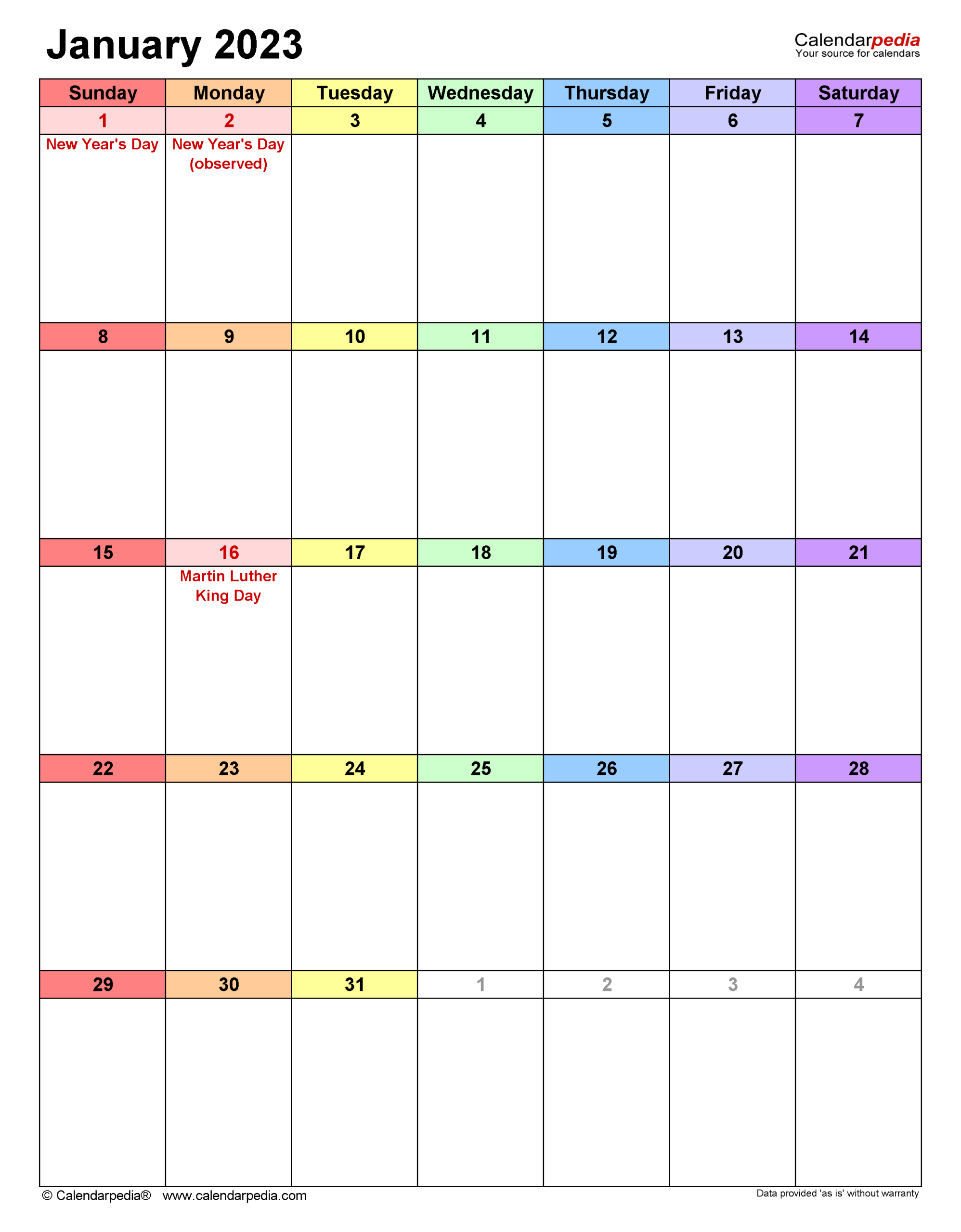 January 2023 - Calendar Templates For Word, Excel And Pdf