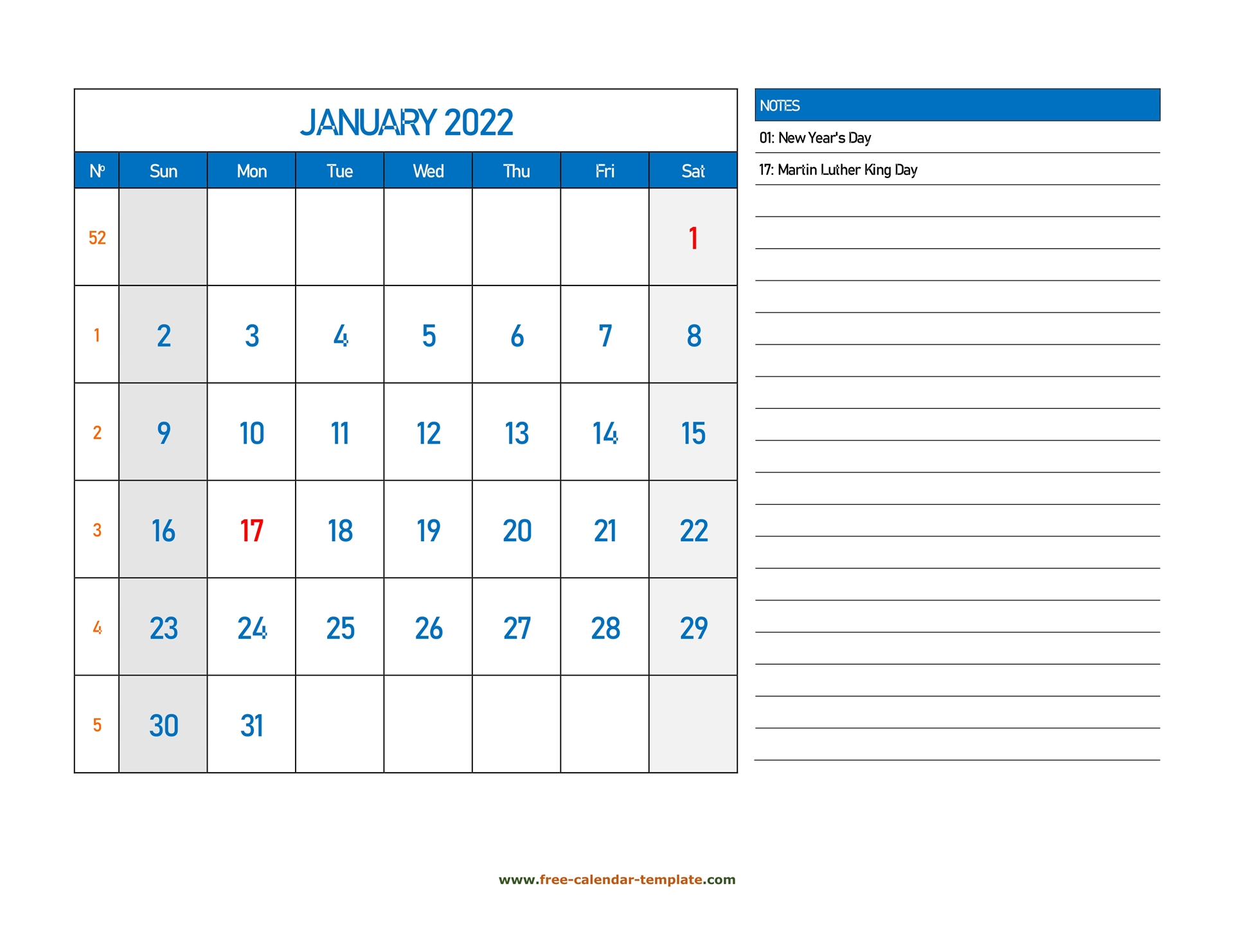 January Calendar 2022 Grid Lines For Holidays And Notes