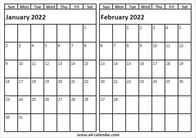 January February 2022 Calendar Editable - A4 Calendar