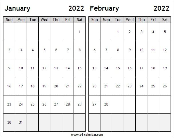 January February 2022 Calendar Image - A4 Calendar
