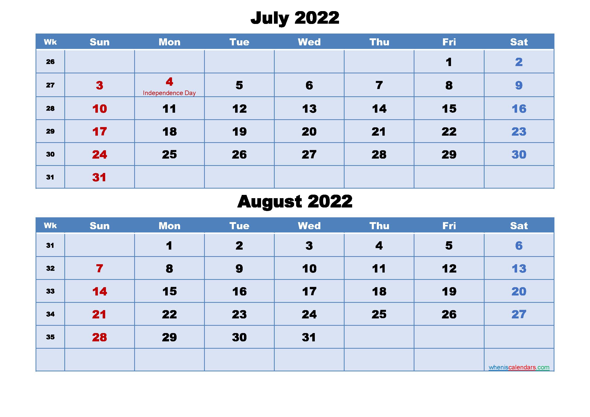 July 2022 Calendar Canada