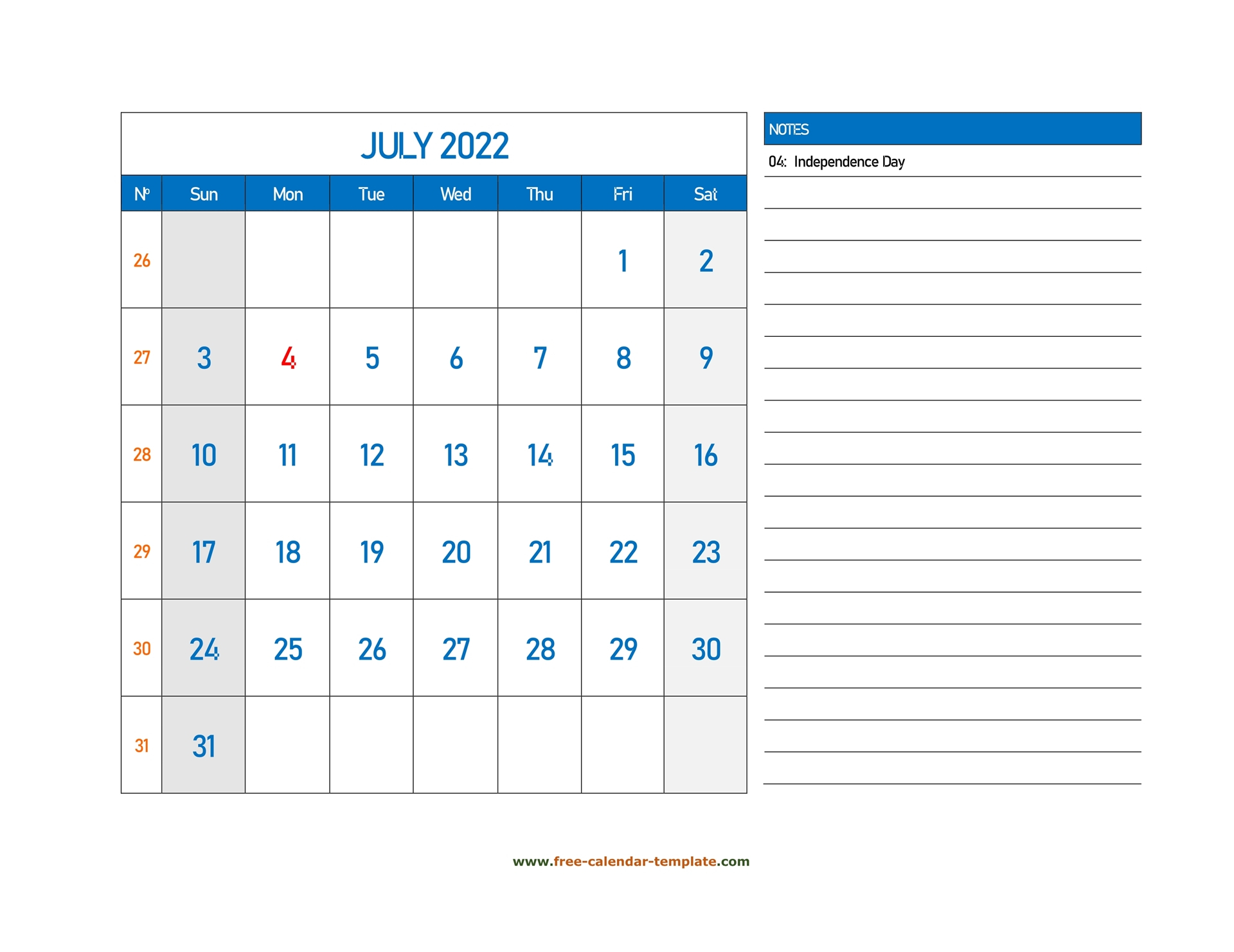 July Calendar 2022 Grid Lines For Holidays And Notes