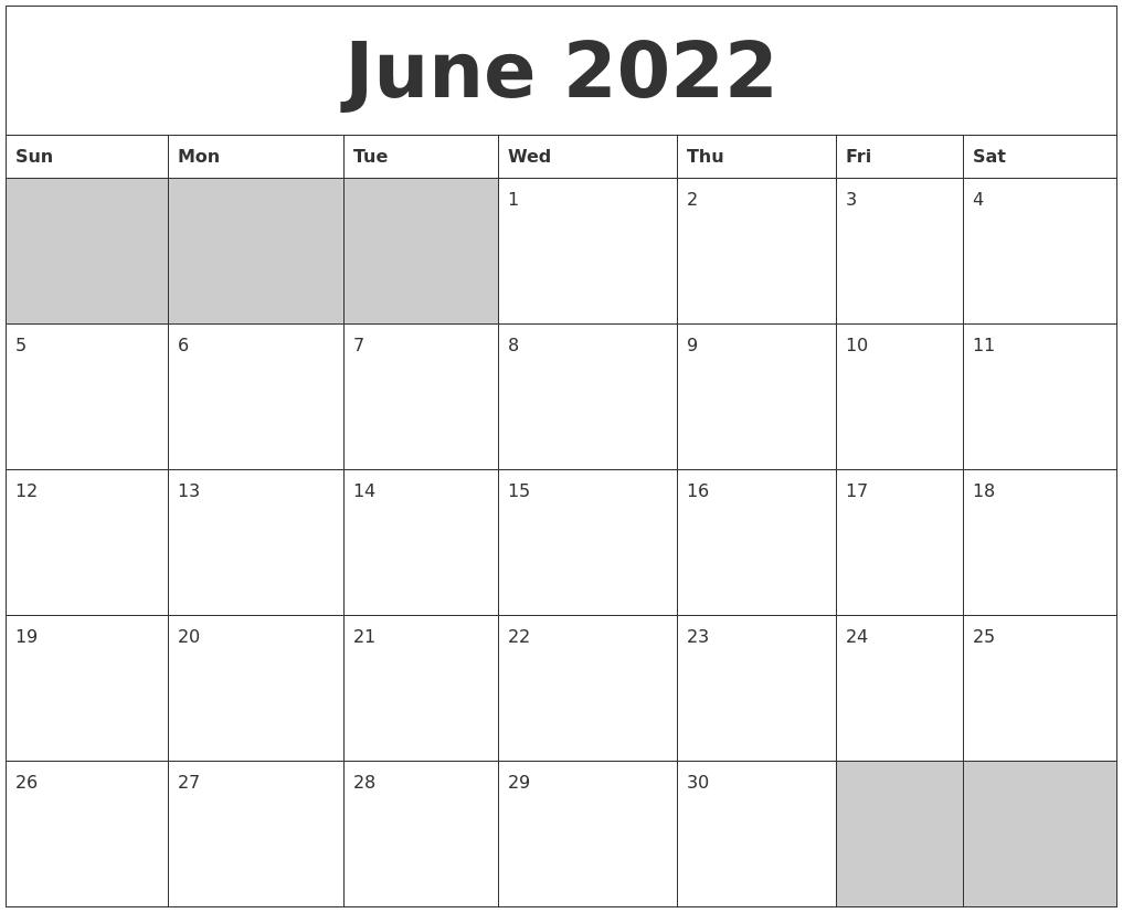June 2022 Blank Printable Calendar