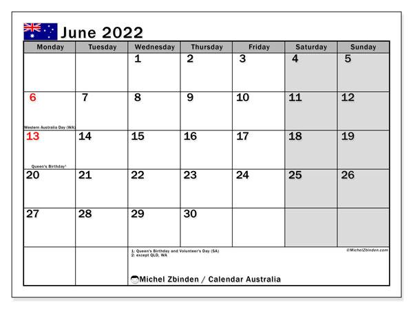 June 2022 Calendar Template