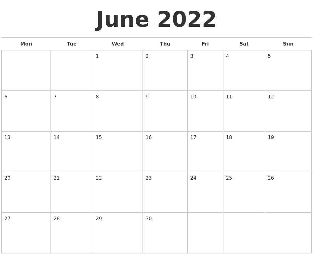 June 2022 Calendars Free