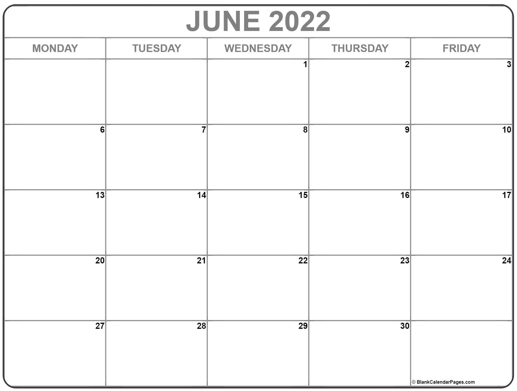 June 2022 Monday Calendar