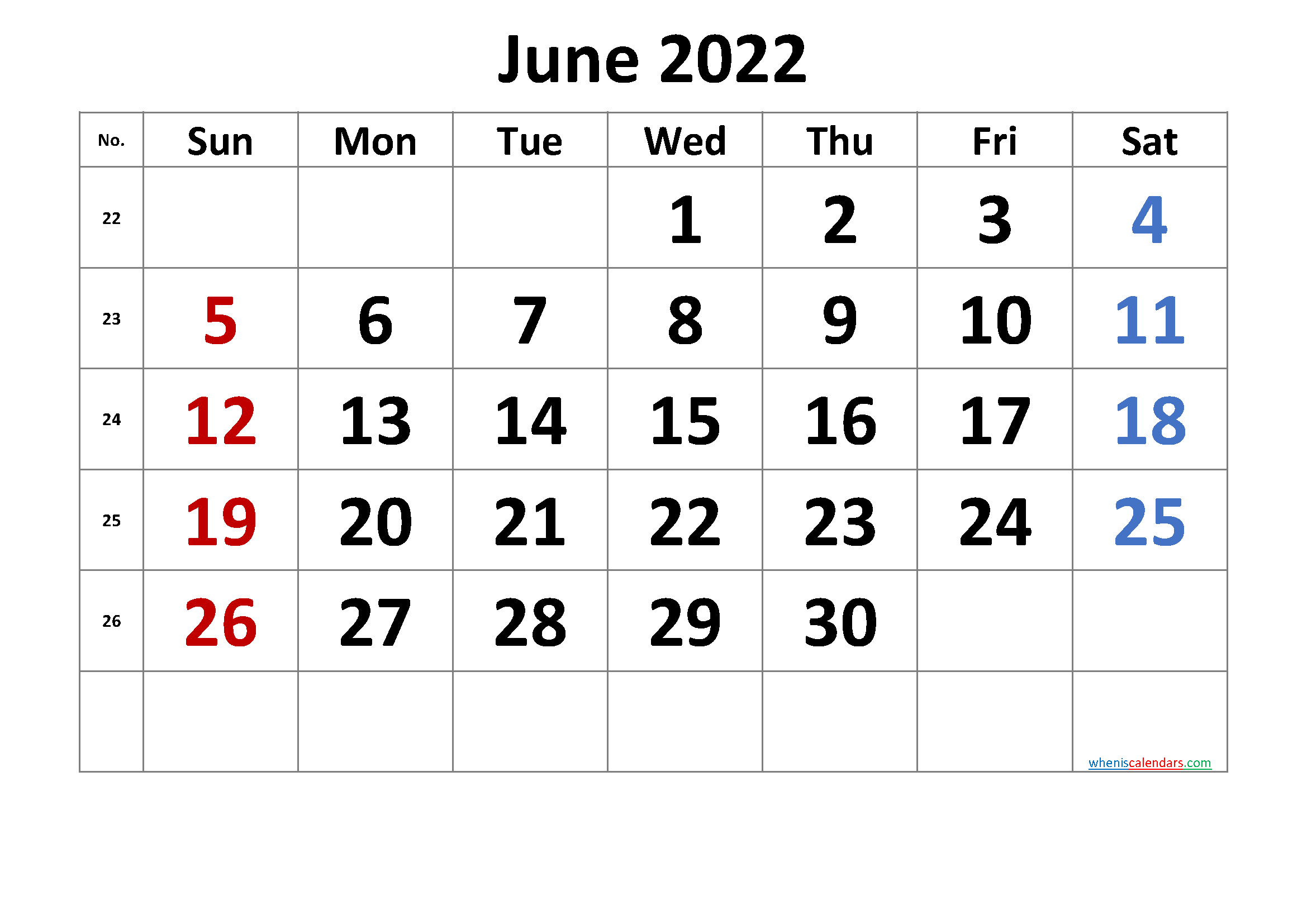 [%June 2022 Printable Calendar [Free Premium]|June 2022 Calendar Template|June 2022 Calendar Template%]