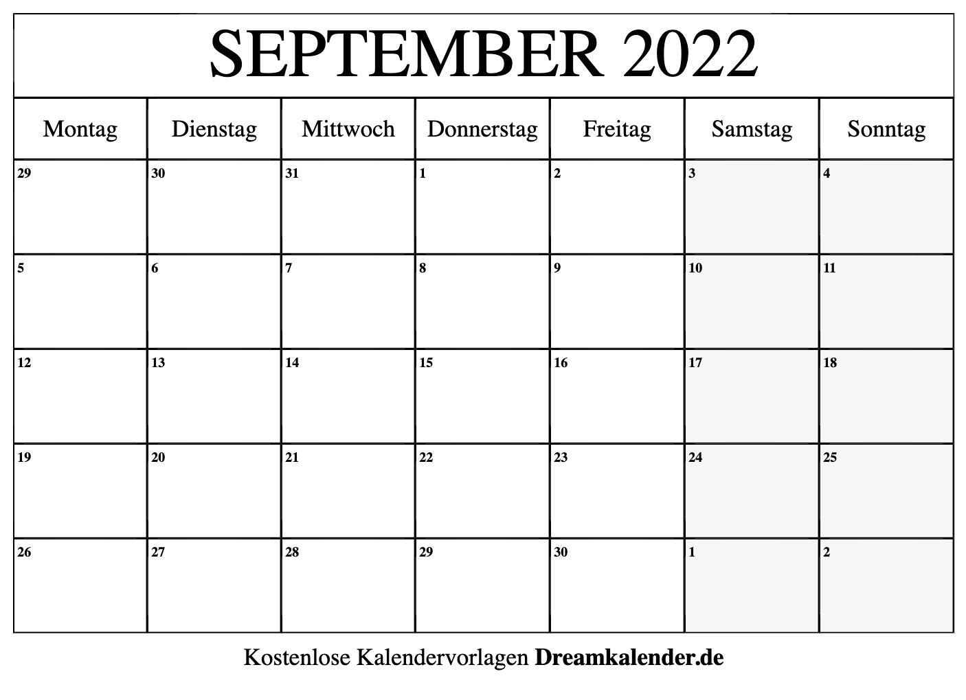 Kalender September 2022