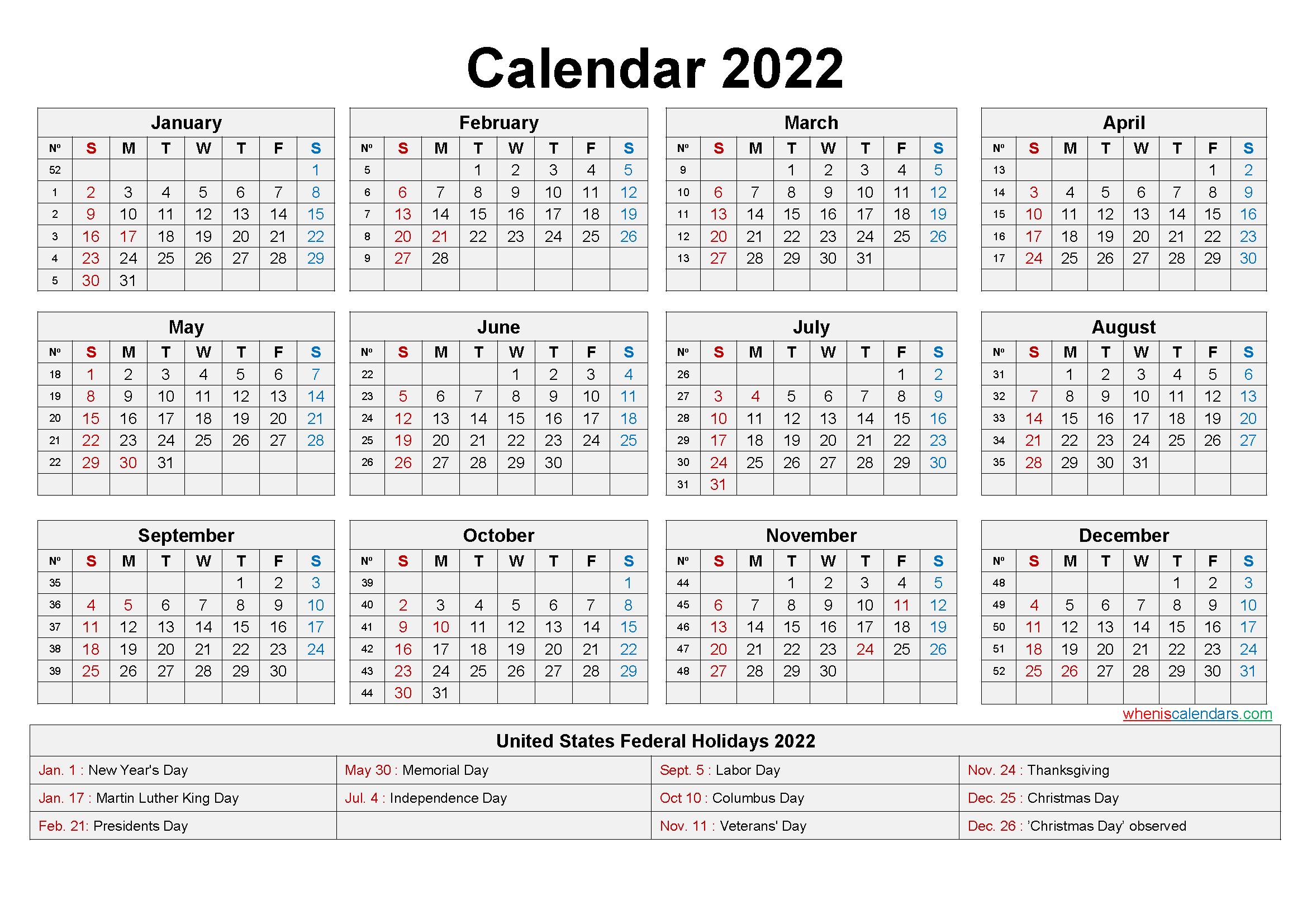 Large Desk Calendar 2022 With Holidays