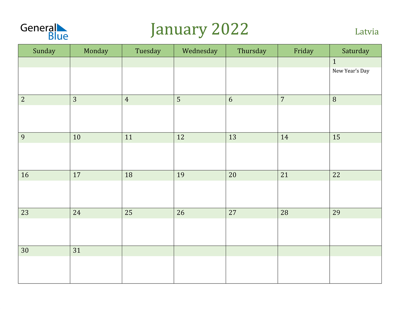 Latvia January 2022 Calendar With Holidays