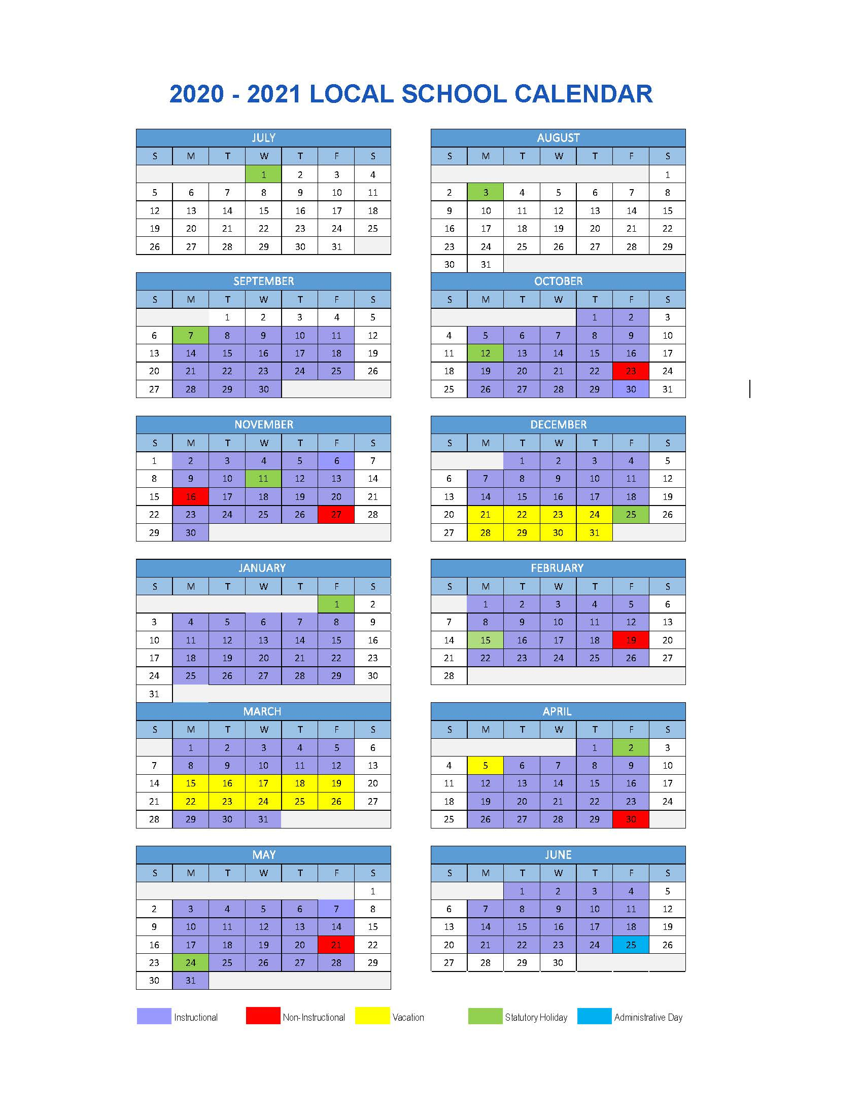Local School Calendar 2020/2021