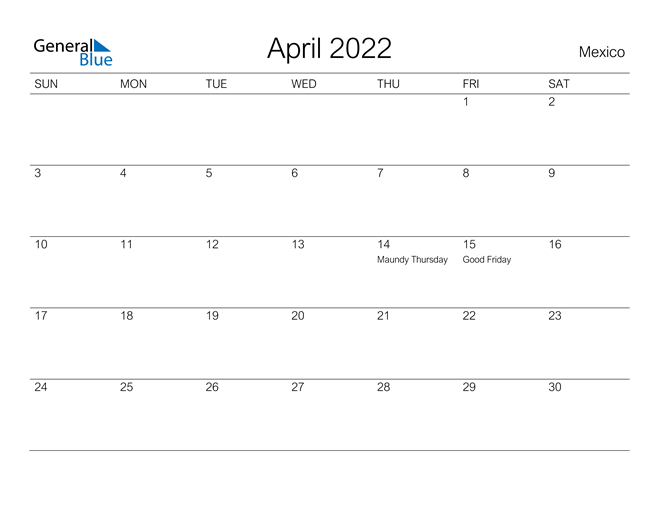 Mexico April 2022 Calendar With Holidays