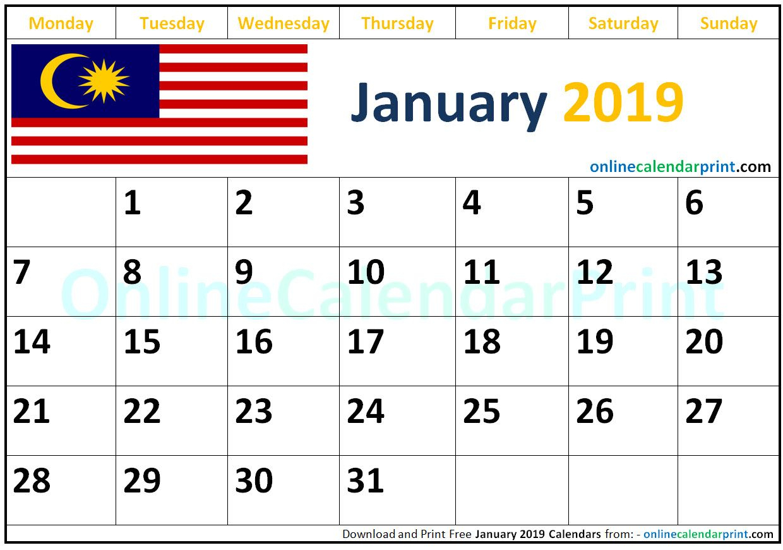 Monthly Calendar 2019 - Free Download Printable Calendar