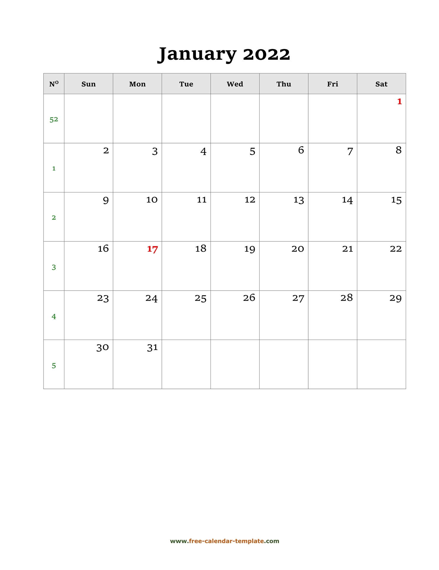 Monthly Calendar 2022 Simple Design With Large Box On Each