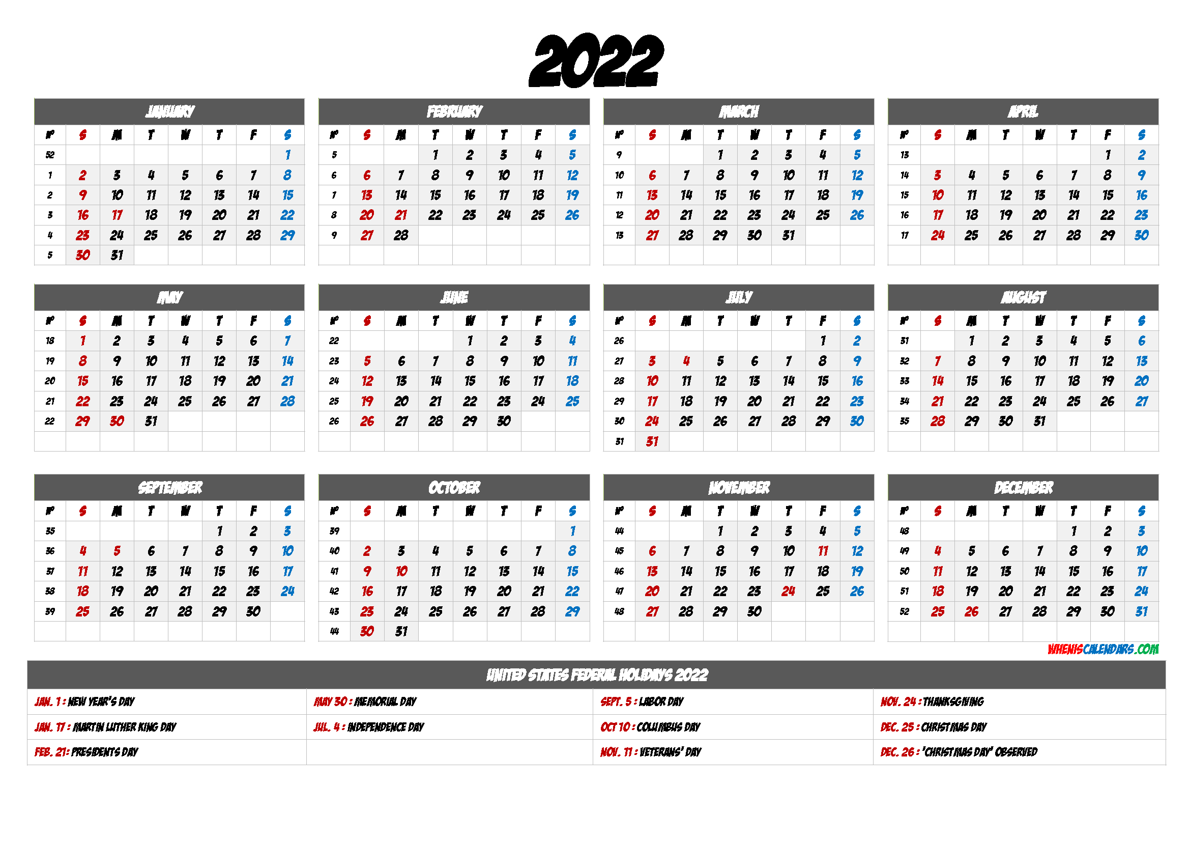 Monthly Calendar Template 2022