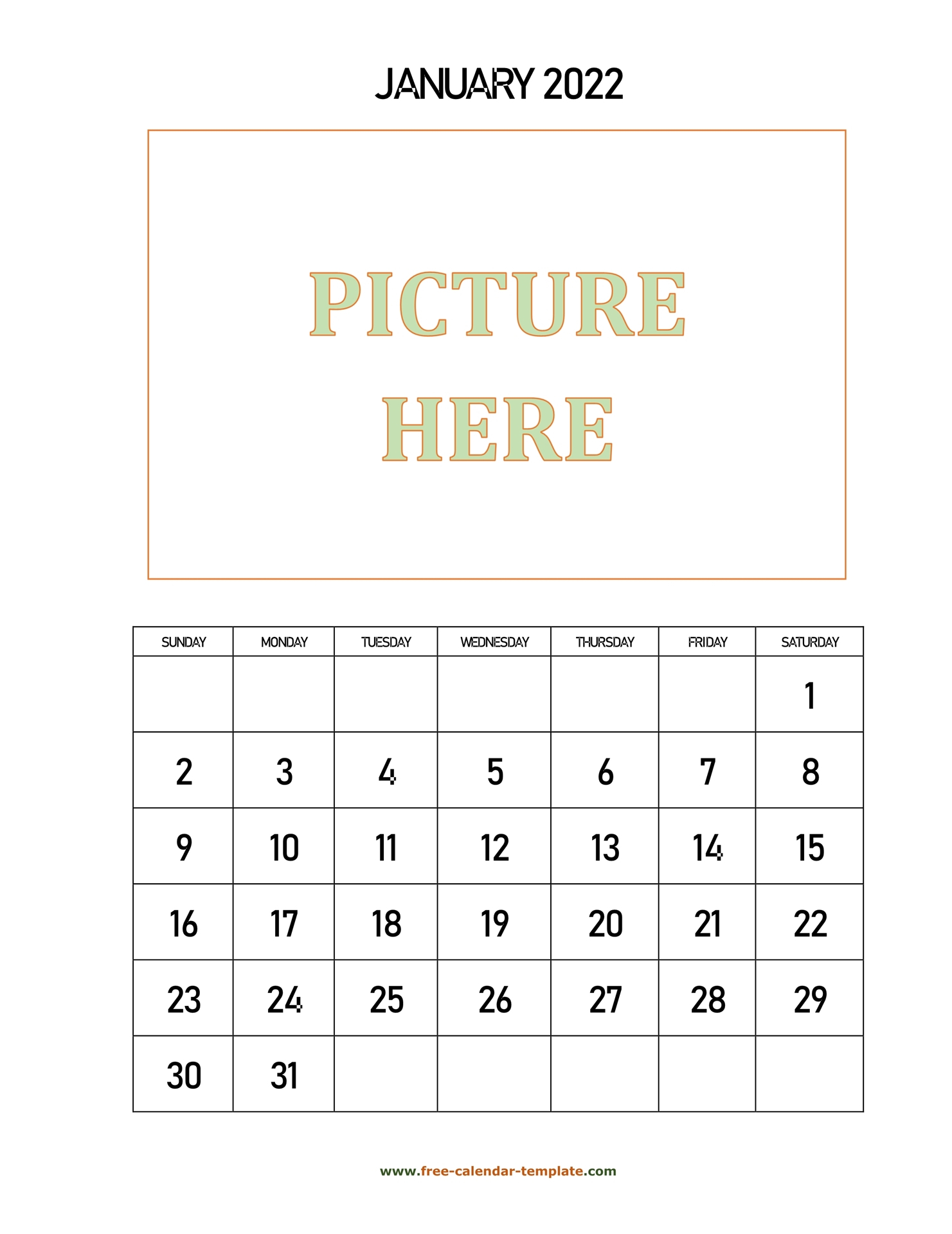 Monthly Printable 2022 Calendar, Space For Add Picture
