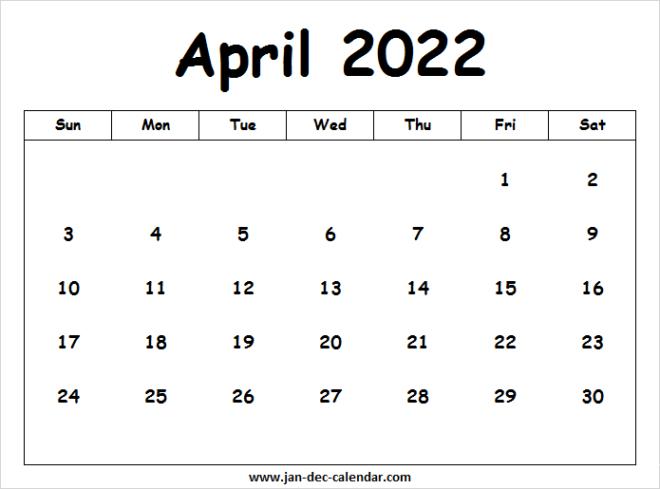 Moon Calendar April 2022