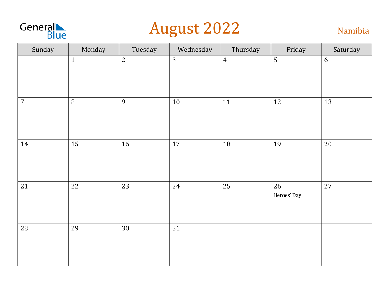 Namibia August 2022 Calendar With Holidays