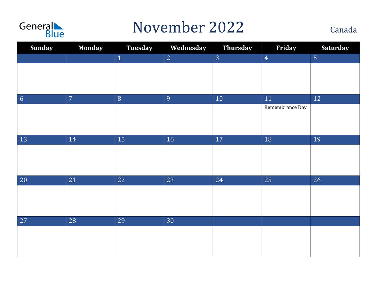 November 2022 Calendar - Canada