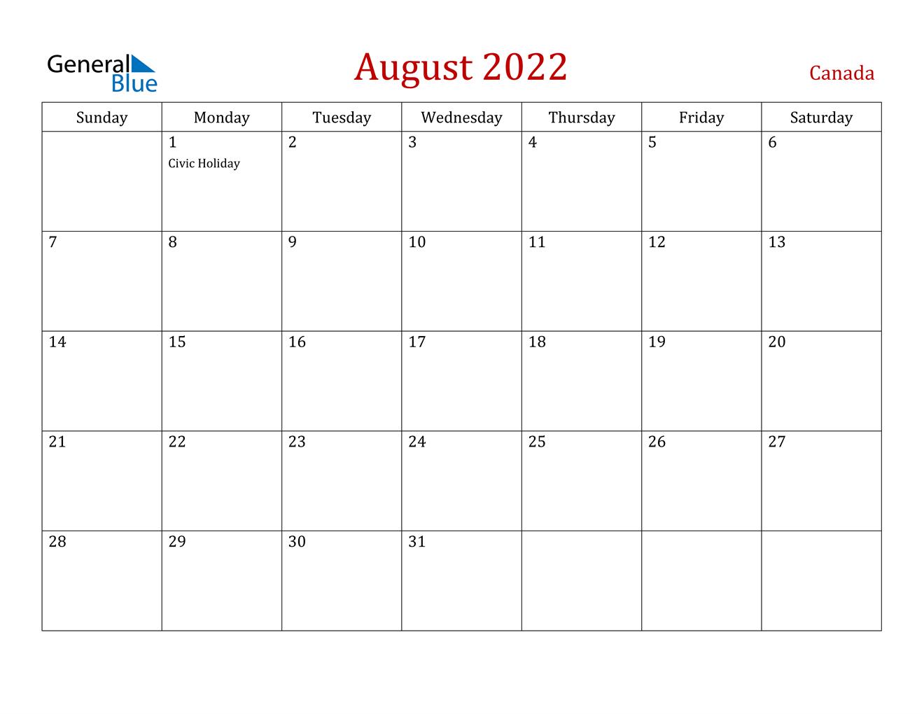 October 2022 Calendar Canada