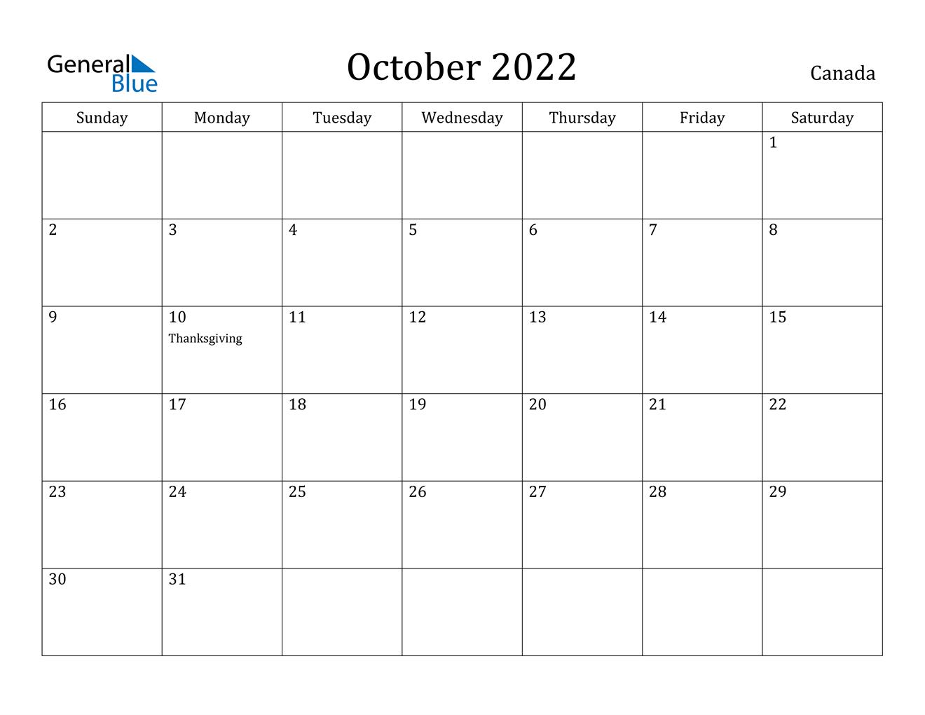 October 2022 Calendar - Canada