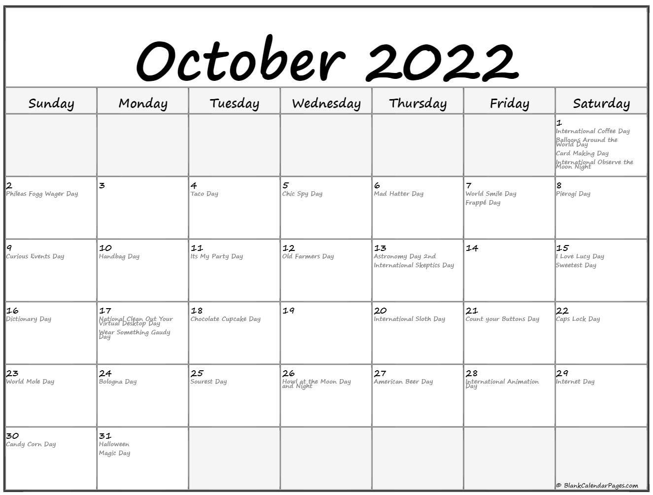 October 2022 With Holidays Calendar