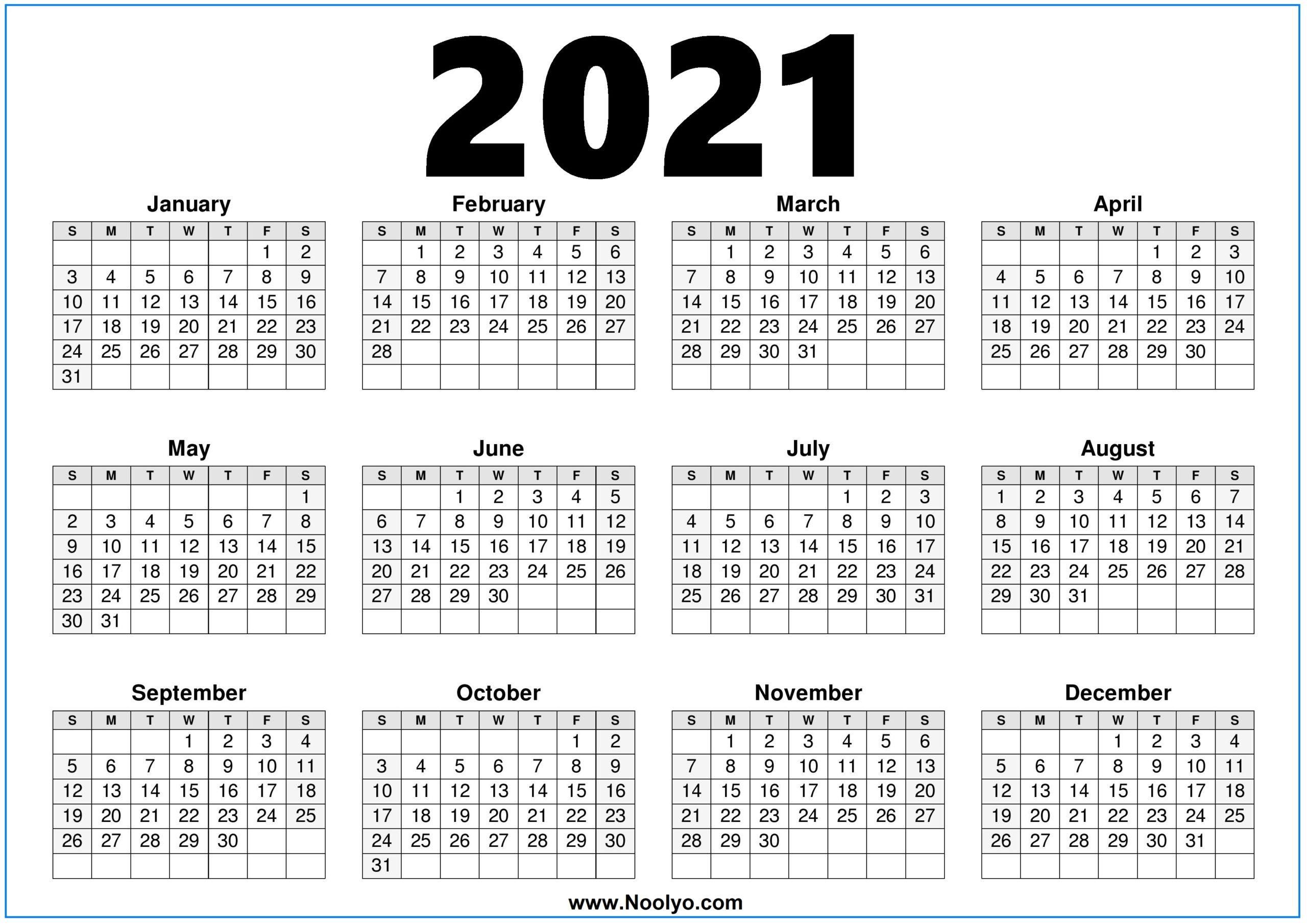 Printable 2021 Calendar On One Page