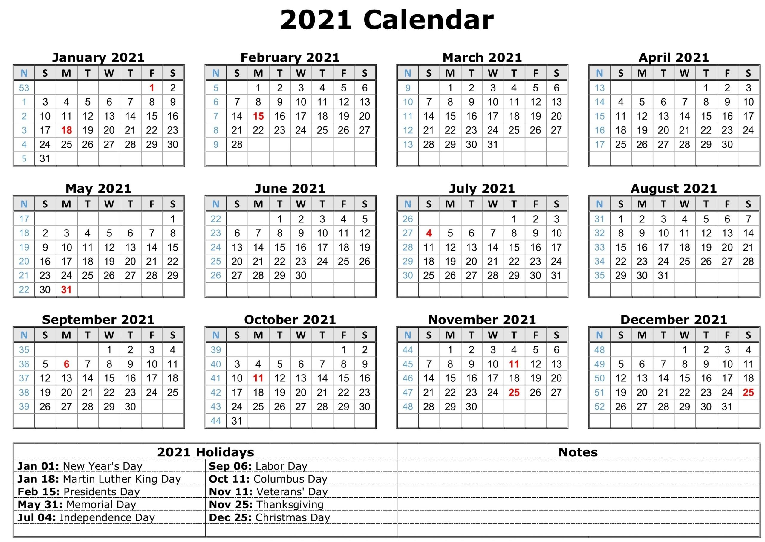 Printable 2021 Calendar With Lines Free