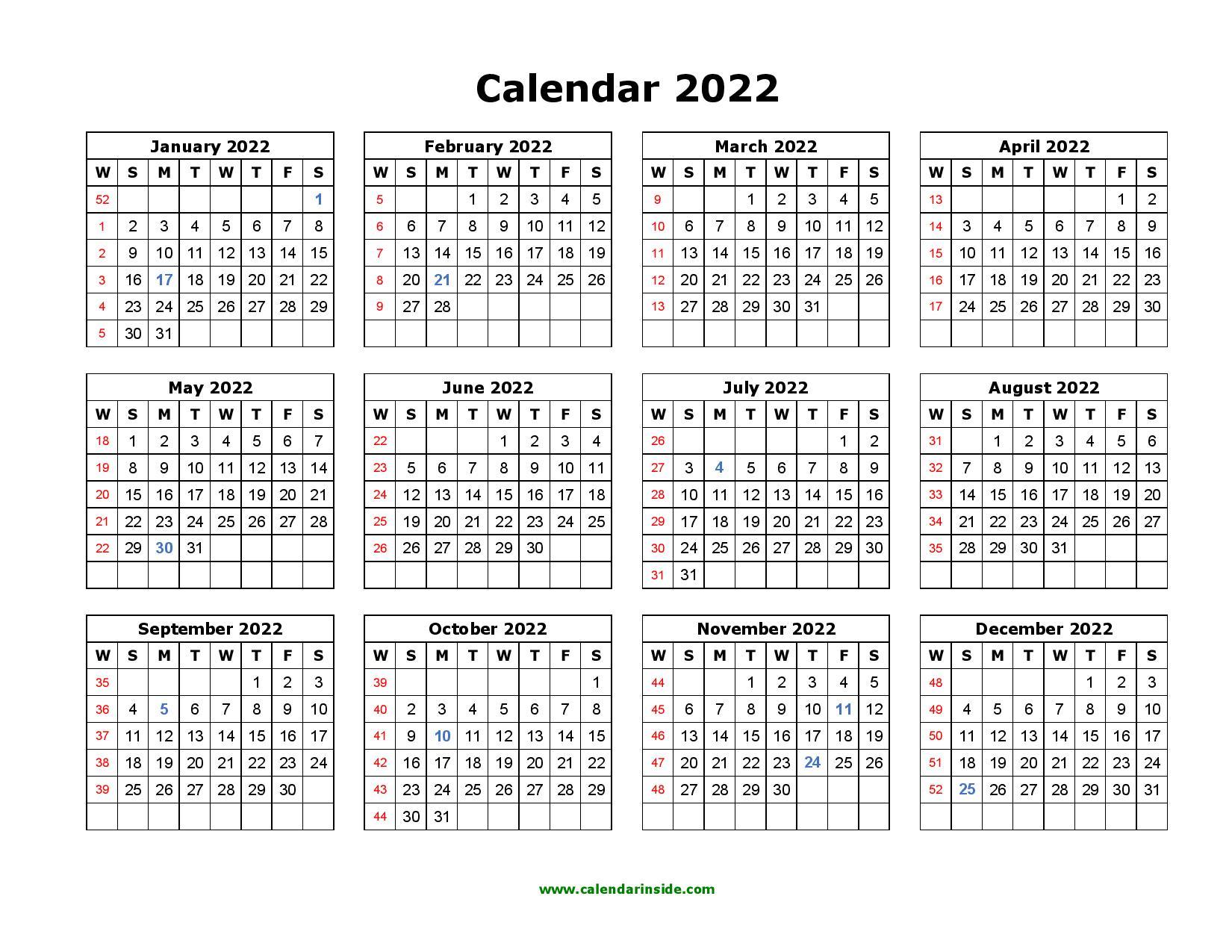 Printable 2022 Calendar Template - Pdf, Word, Excel