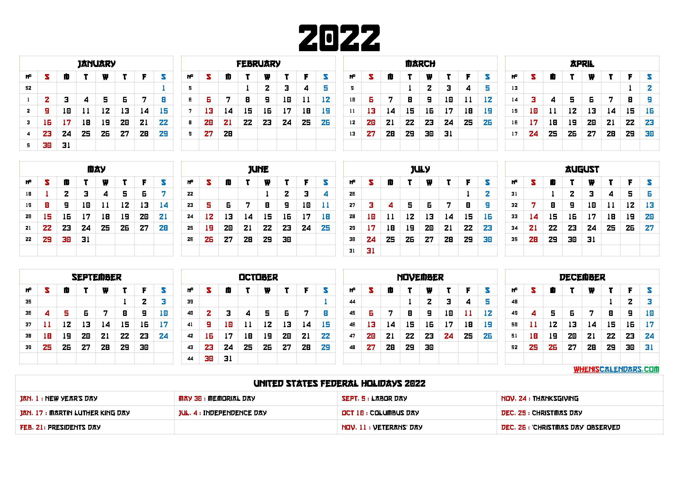 Printable 2022 Calendar With Holidays - 6 Templates