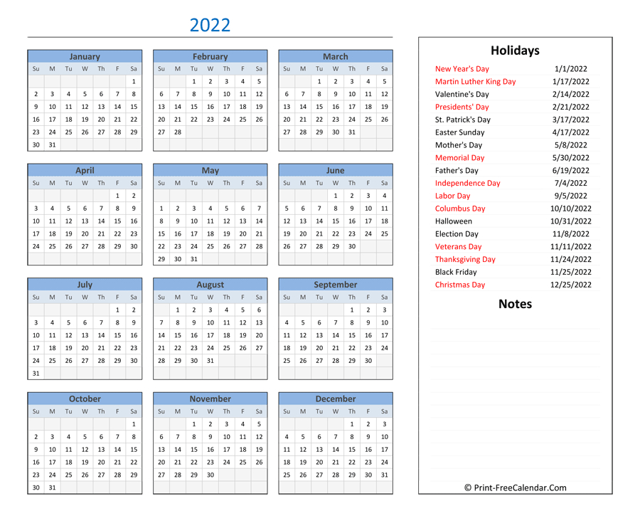 Printable 2022 Calendar With Holidays And Notes