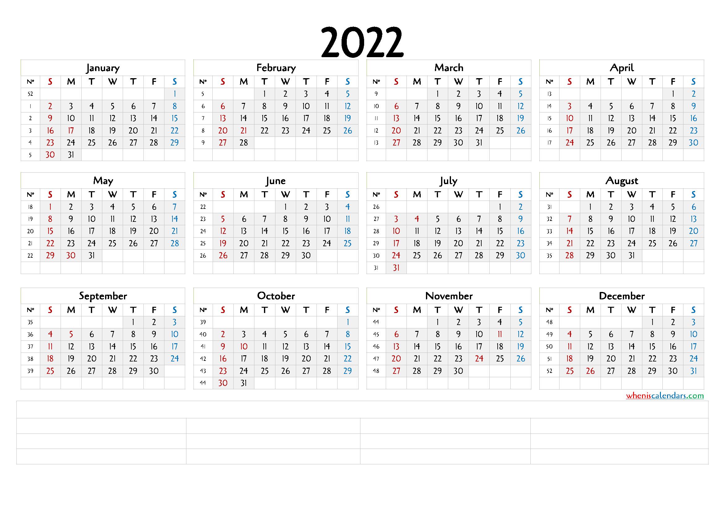 Printable 2022 Calendar With Week Numbers (6 Templates