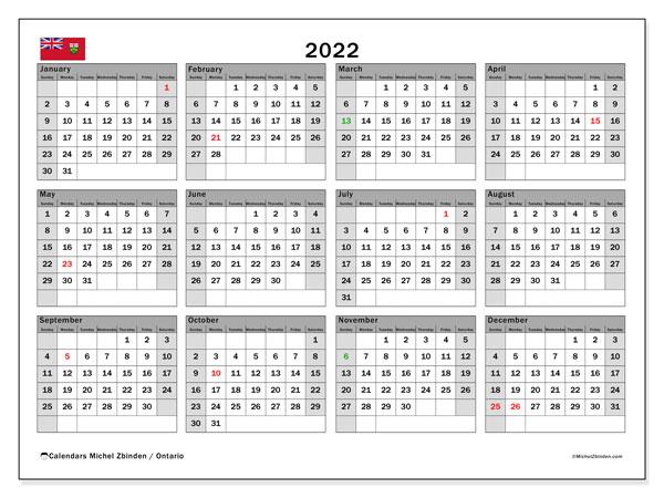 """Printable 2022 """"Ontario"""" Calendar - Michel Zbinden En"""